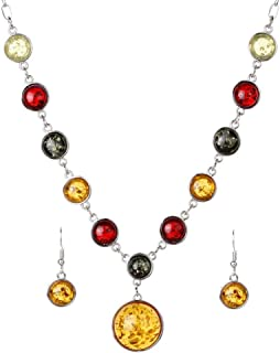 Women's Silver Plated Amber and Alloy Bib Collar Party Jewelry Sets Statement Chain Necklace Earrings Sets,Colour:Orange (...