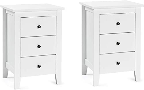 discount Giantex Nightstand W/ sale 3 Drawers Large Storage Space, Solid Structure and Stable Frame, Elegant Appearance, Suitable for Bedroom and Bedsides online sale Table Accent Table End Table (2,White) outlet online sale