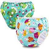 PHOGARY Baby Schwimmwindel (2er-Pack) für Baby (0-3 Jahre), Schwimmhose wiederverwendbarer Badeanzug für 3-15kg Babys, Waschbar (Frosch+Eis)