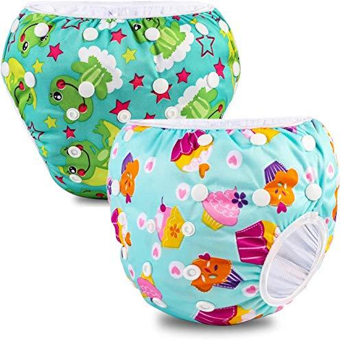 Riutilizzabile Pannolini da nuoto (Confezione da 2), Costume Pannolino Lavabili, Impermeabile Pannolino Piscina (0-3 anni), gelato e rana