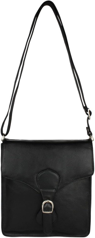 PRERNA Genuine Leather Cross Body One Size Bag Black, Unisex