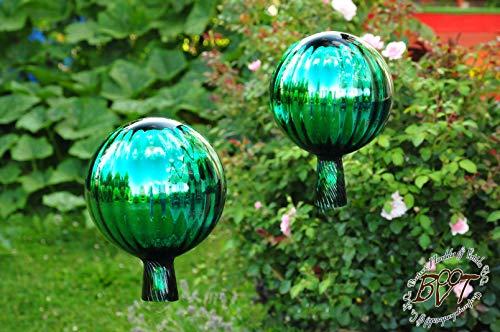 2 x Gartenkugel ca. 18 cm gross Form Kugel, klassische Kugelform handgefertigt grün Rosenkugel gartenkugeln, Sonnenfänger-Kugel, Sonnenfänger-Scheibe, Sonnenfängerscheiben, Gartendeko FROSTSICHER,