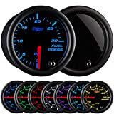 GlowShift Tinted 7 Color 30 PSI Fuel Pressure Gauge Kit...