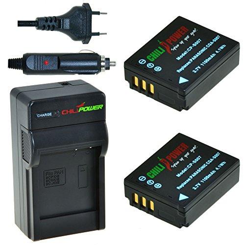 ChiliPower Panasonic CGA-S007, CGA-S007A, CGA-S007E, DMW-BCD10 Kit: 2x Batería (1100mAh) + Cargador para Panasonic DMC-TZ1, DMC-TZ2, DMC-TZ3, DMC-TZ4, DMC-TZ5, DMC-TZ11, DMC-TZ15, DMC-TZ50