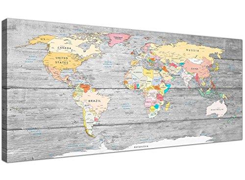 Cuadro mapamundi Wallfillers en lienzo, con fondo gris claro, de 120cm de ancho
