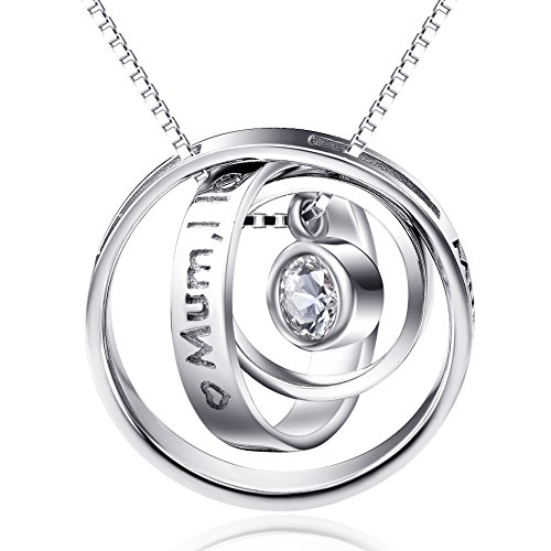 Gifts for Mum Sterling Silver Engraved Three Ring Pendant Necklace Jewellery for Mum (A Mum, Thank you for all you do)