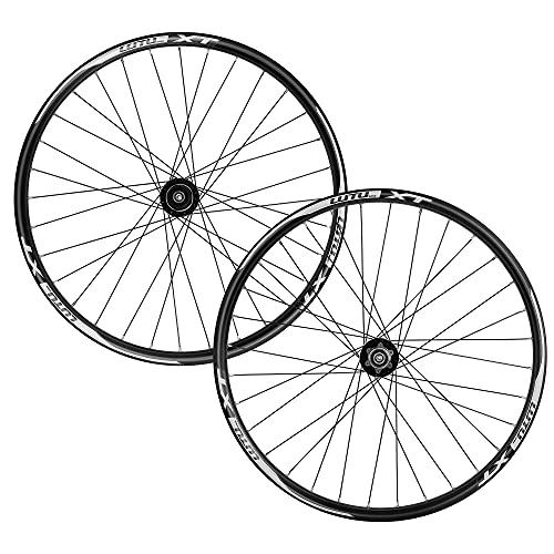 LHHL Set di Ruote per Mountain Bike26/27.5/29' Set Ruote Freni A Disco QR 32H 8-11 velocità Card Hub Cuscinetto Sigillato Inner Larghezza 18 Mm (Color : Black, Size : 26')