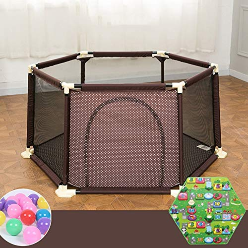LJYY Foldable Baby Playpen Fence With Mattress Pad Balls Indoor Outdoor Home Kids Safety Activity Centre 6 Panel (Color : Brown)