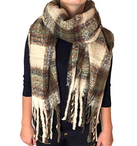 Damen XXL Winter Schal riesig viele Farben extrem flauschig dick Baumwolle Poncho Karo Halstuch Cape Scarf Blogger Herbst kariert Fransen (AZ-45)