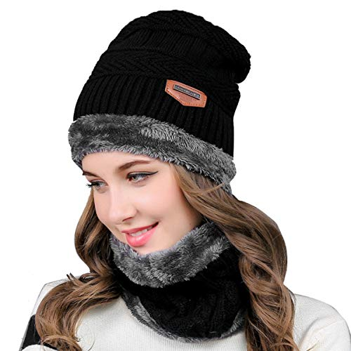 Hinzonek Femmes Hommes Écharpe en Tricot Chapeau Ensemble Hiver Chaud Cagoule Chapeau Bonnet Tricoté Bonnet de Ski Écharpe pour L'extérieur