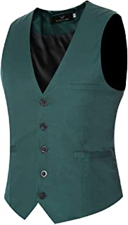 MU2M Men Business Solid Slim Fit Sleeveless 3 Button Dress Suit Vest Waistcoat
