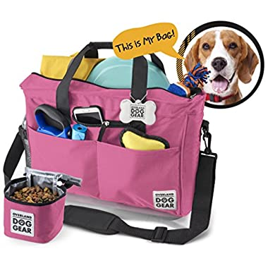 Dog Travel Bag - Day Away Tote For All Size Dogs - Includes Bag, Lined Food Carrier, And Luggage Tag (Pink)