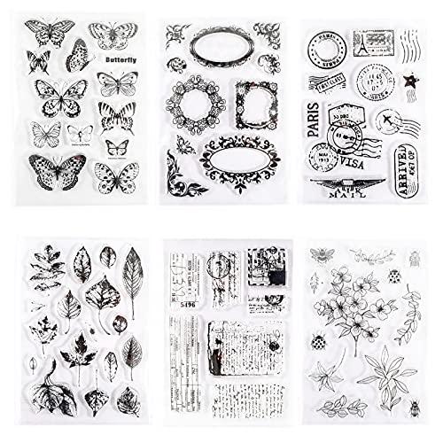 6pcs Tampons Transparents, Papillons Transparent Modèle de Sceau, Thèmes de Fleurs Silicone Timbres Claires pour l'artisanat,la Création de Cartes/Album Photo Décoratif/Bricolage Scrapbooking Gaufrage