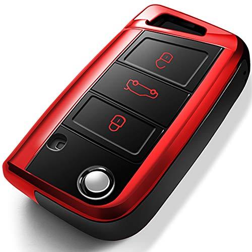 COMPONALL für VW Autoschlüssel Hülle, Autoschlüssel Fall für VW Volkswagen Golf MK7/GTI/Rabbit/R Passat Tiguan Skoda Octavia Prämie Weiches TPU Schutzhülle Smart Remote Keyless Steuerschlüssel