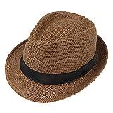 JOYKK Niños Sombrero de Paja Playa de Verano Jazz Panamá Trilby Fedora Sombrero Gángster Gorra Sombreros al Aire Libre Respirable Niñas Niños Sombrero para el Sol - G # Marrón