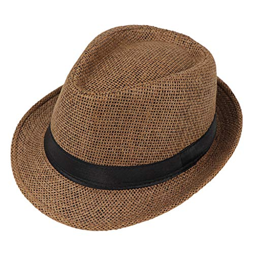 JOYKK Kinder Strohhut Sommer Strand Jazz Panama Trilby Fedora Hut Gangster Mütze Outdoor Breathable Hüte Mädchen Jungen Sonnenhut - G # Braun