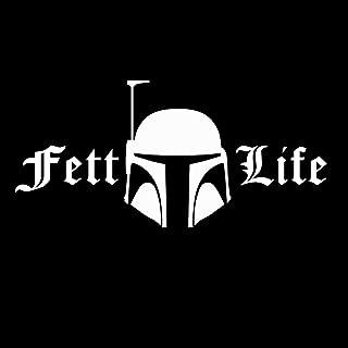 CCI Fett Life Boba Fett Star Wars Decal Vinyl Sticker|Cars Trucks Vans Walls Laptop| White |7.5 x 3.5 in|CCI546