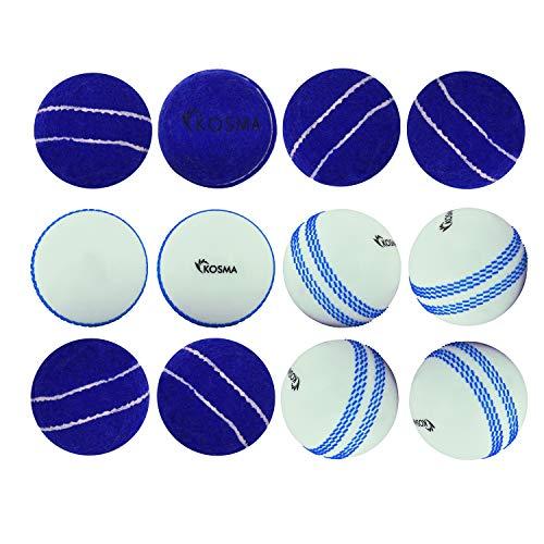 Kosma Set di 12Pc Palla da tennis / Windball Cricket Ball - 6Pc Palla da tennis blu con cucitura centrale, 6P Windball bianca con cucitura blu