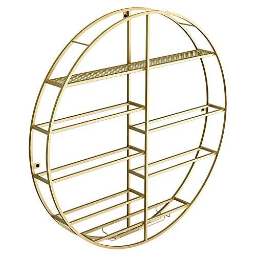 Rundes Weinregal, an der Wand montiertes einfaches Weinregal Weinschrank Becherhalter/golden / 60×11×60cm