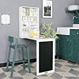 3 in 1 Wall Mounted Desk Fold Out Computer Laptop Table w/Storage Area,Chalkboard,Side Shelves,Convertible Writing Desk for Home Office (White)