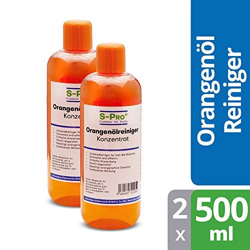 S-Pro® Orangenölreiniger Konzentrat Allzweckreiniger Reinigungsmittel Fettlösend, 2 x 500ml Flasche
