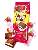 Milky chocolates Strawberry Yogurt Filling Alpen Gold Imported Russian Sweets Candy Food Grocery Gourmet Bars