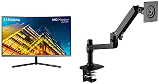 "Samsung U32R590 32"" 4K UHD 4ms Curved Monitor (LU32R590CWNXZA) with AmazonBasics Premium Single Monitor Stand - Lift Engin..."