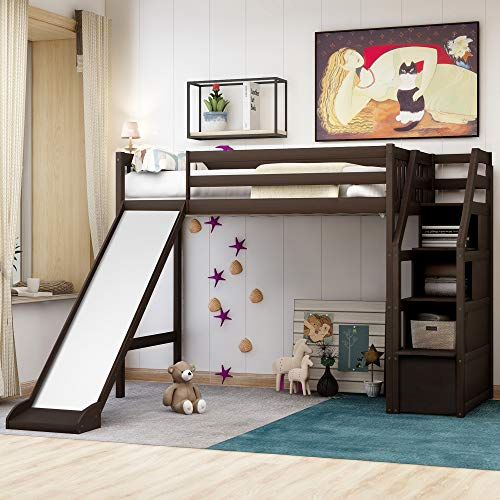 Twin Loft Bed with Slide, Wood Loft Bed No Box Spring Needed with Stairway (Espresso Loft Slide Bed Twin Size)
