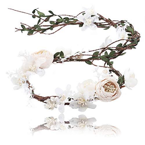 AWAYTR Boho nupcial guirnalda de flores diadema - mujeres niñas árbol ajustable hoja de ratán guirnalda de pelo floral decoración de fotografía de boda (encaje blanco)