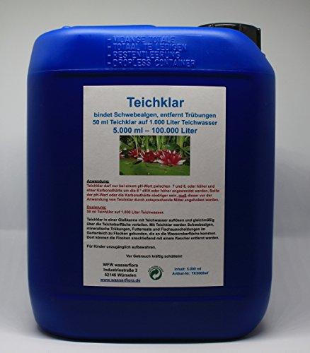 WFW wasserflora 5 Liter Kanister Teichklar - gegen grünes Teichwasser - Schwebealgen, entfernt Trübungen im Gartenteich, für 100.000 Liter Teich-Wasser
