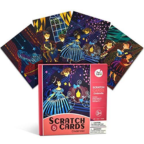 Dreamingbox Halloween Spielzeug für Mädchen 4-12 Jahre, Kratzbilder für Kinder Spielzeug Junge 4-12 Jahre Geschenke für Jungen 3-12 Jahre Weihnachten Geschenk für Mädchen 5-12 Jahre (Prinzessin)