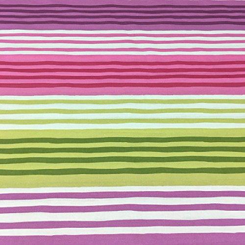Tela por metros de sábana estampada - Algodón y poliéster - Ancho 270 cm - Confeccionar ropa de cama, decoración, manualidades | Rayas horizontales, rosa