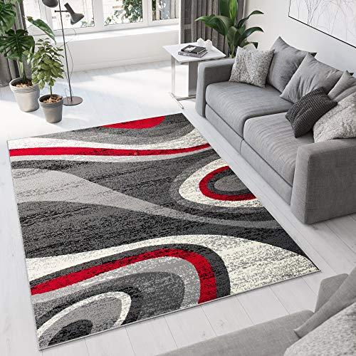 TAPISO Dream Tappeto Camera Soggiorno Salotto Moderno Crema Grigio Rosso Astratto A Pelo Corto 160 x 220 cm