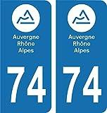 SAFIRMES Département 74-2 Autocollants Style immatriculation Auto Plaque Auvergne 2018