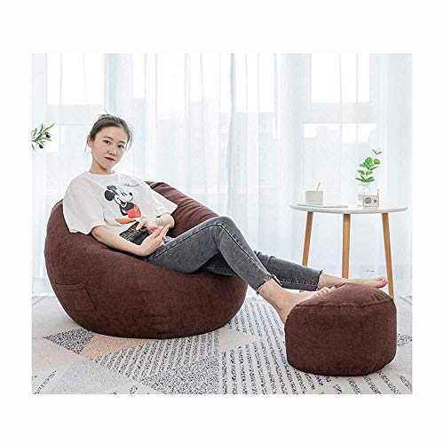 Armchairs NUBAO TOY Bean Bags Chair/high Back Bean Bag Chair/give Away Pillow/with Footrest/multiple Colour Bedroom Living Room Garden/indoor Outdoor,Red-OneSize (Color : Brown, Size : OneSize)
