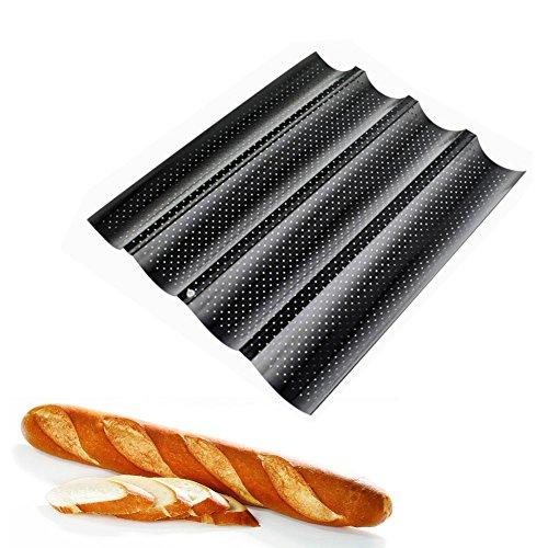 Ainstsk Baguette - Bandeja para horno, antiadherente, barra francesa perforada, soporte para pan, microperforado, negro, Tamaño libre