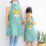 Lindong Süß Tier Schürze mit Tasche für Erwachsene Kinder Wasserdicht Baumwolle Leinen Küchenschürze Latzschürze Kochschürze Erwachsene Grün Giraffe - 5