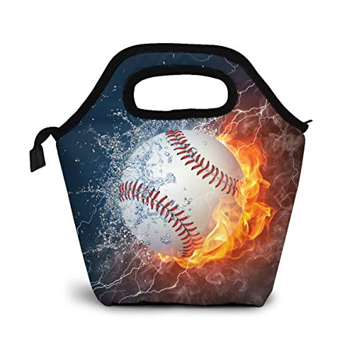 Reusable Lunch Bag, Baseball In Fire And Water Lunch Bag Picnic Office Outdoor Thermal Carrying Gourmet Lunchbox Black Background Lunch Tote Container Tote Cooler Warm Pouch For Men,Women