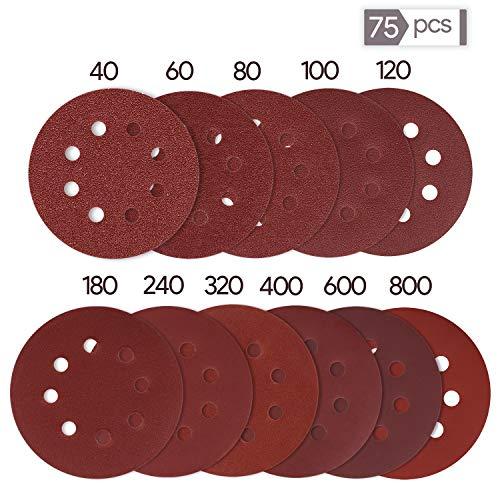 Oladwolf Schleifpapier 125mm Klett, 75 Stück Schleifscheiben 125 mm Rund Klett für Exzenterschleifer 10 x 40 60 80 100 Körnung, 5 x 120 180 240 320 400 600 800 Körnung 8 Loch