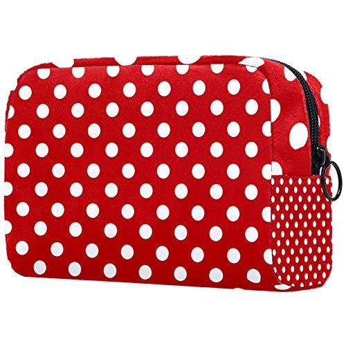 Kosmetische Reisetasche, Make-up-Fall, Make-up-Tasche, Geburtstagsgeschenk, Jubiläumsgeschenk - Vintage Retro Red Polka Dot