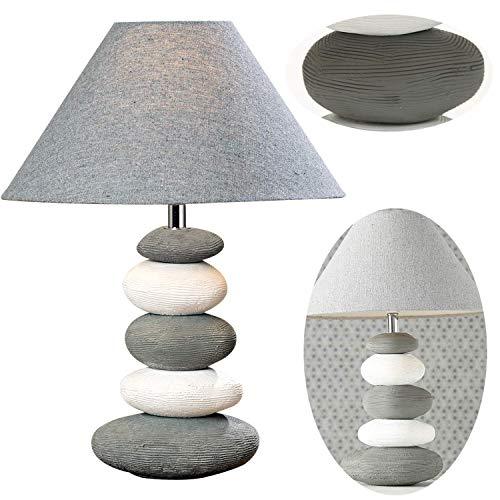 LS-Design XL Stein Tischlampe 43cm Keramik Sylt Grau Tischleuchte Nachttisch-Lampe