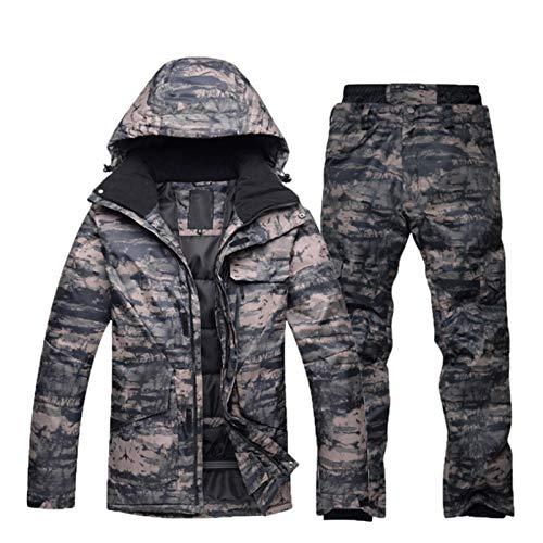 Winter Snowboard Suit Set For Men, Completo Da Snowboard Invernale Per Uomo, Tuta Da Sci Da Montagna Impermeabile Foderata In Caldo Mimetico Ispessito Da Uomo Set Da Esterno Antivento