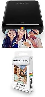 Polaroid ZIP Handydrucker mit ZINK Zero tintenfreier Drucktechnologie   Schwarz + 2x3 Zoll Premium ZINK Fotopapier (50 Blatt)   Kompatibel mit Polaroid Snap, Z2300, SocialMatic Sofortbildkameras