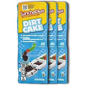 Lunchables Snacks Dirt Cake Dunking Snack Packs  3 Pack  Kids On-the-Go Snacks with Gummy Worms Oreo Cookie Crumbs and Chocolate Marshmallow Creme - 1.95 Ounce Packs