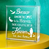 """BEREAVEMENT GIFT: In loving memory keepsake gift size in 4""""x 4""""x 1"""". QUATITY MATERIAL: Bereavement keepsake gift is made of acrylic,durable,no smelling at all. ENGRAVED DESIGN: Keepsake and paperweight engraved with Words and patterns of""""Because some..."""