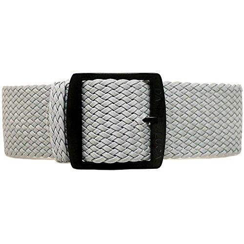 DaLuca, cinturino in nylon intrecciato in perlon, grigio (fibbia PVD), 22...