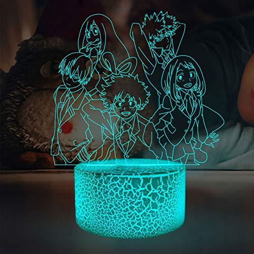 Cartoon My Hero Academia Deku Manga Midoriya Izuku Animation Figur Nachtlicht LED Anime Kinder Erwachsene Geschenke Dekor Comic Tischlampe Schlafzimmer Smart 16 Farben Dekor Spielzeug Kinder