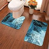 Lindsay Gosse Juego de alfombras de baño de 2 Piezas Inexplorado Alfombras De Baño, Juegos De Contorno para Bañera, Ducha Y Baño