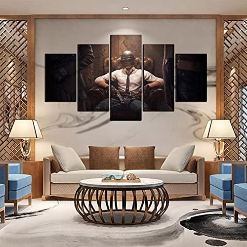 Rtewioucnmxcor Cuadro modular de la lona de la decoración del hogar del juego del cartel 5 placas de impresión moderna del salón de la pared del