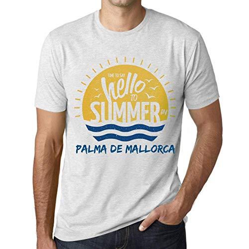 Hombre Camiseta Vintage T-Shirt Gráfico Time To Say Hello To Summer In Palma DE Mallorca Blanco Moteado